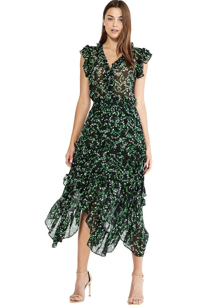 Dakota Dress Green Mini Blooms by Misa Los Angeles