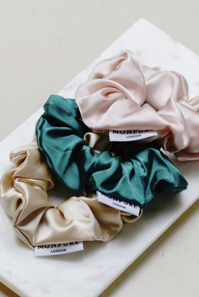 MONPURE Style and Protect Silk Scrunchie Trio