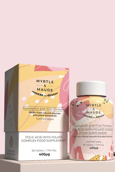 Myrtle & Maude Folic Acid with Folate Complex Pregnancy Vitamin