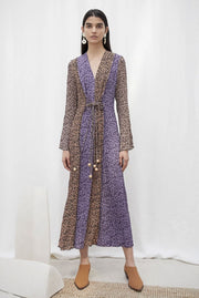 KAMIL Maxi dress with beaded ties - Graphic Animal Patchwork by Nanushka