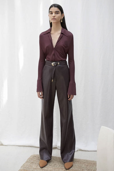 KISA Vegan leather maxi pants - Aubergine by Nanushka
