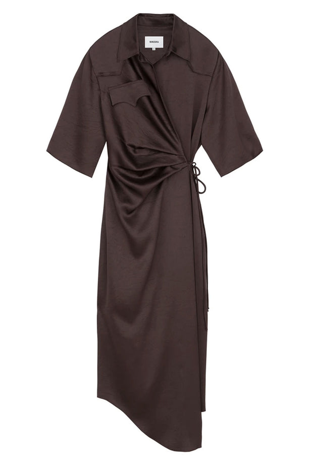 LAIS draped front shirt dress - Espresso by Nanushka