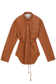 Eddy Belted Shirt - Burnt Orange by Nanushka