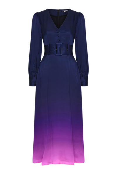 Victoria Navy Dip Dye Silk Dress