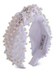 Sasha Silk Pearl Headband White BY alice & Blair
