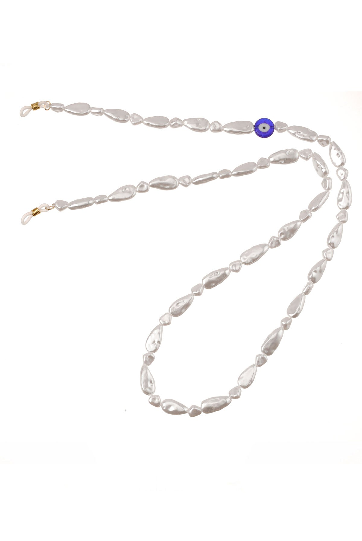 Talis Chains Faux Pearl with Evil Eye - One Size White