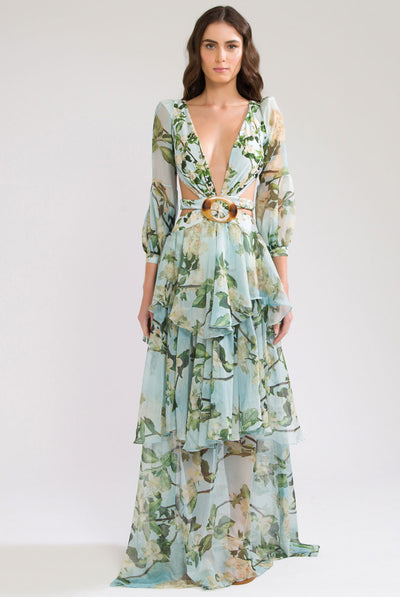 Floral Long Sleeve Beach Dress by PatBO