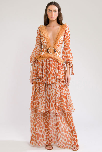 Margot Fringe Trim Maxi Dress by PatBO
