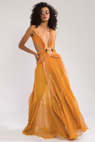 Netted Fringe Beach Dress by PatBO