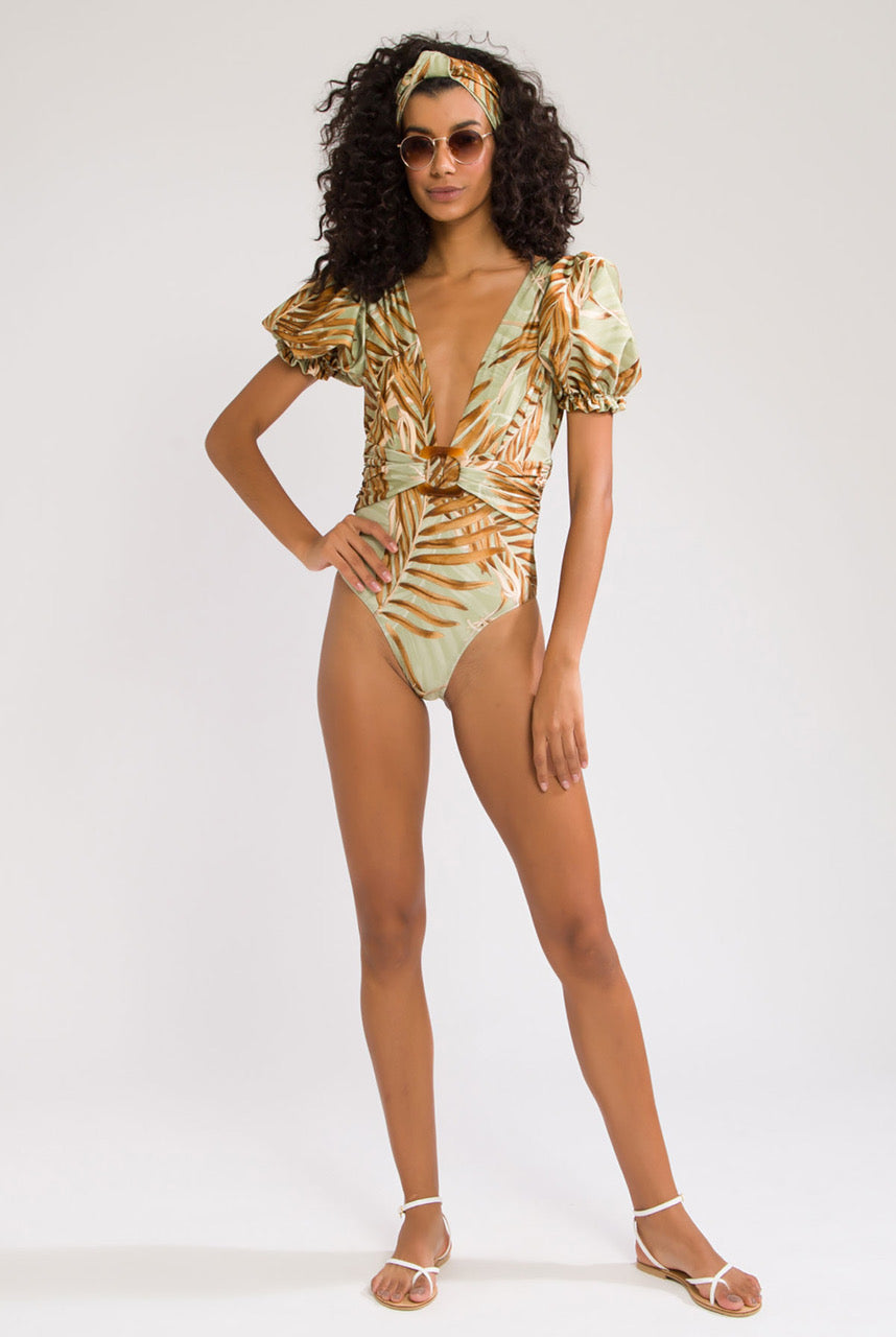 PatBO Palmeira Puff Sleeve One Piece Swimsuit - XS Sage