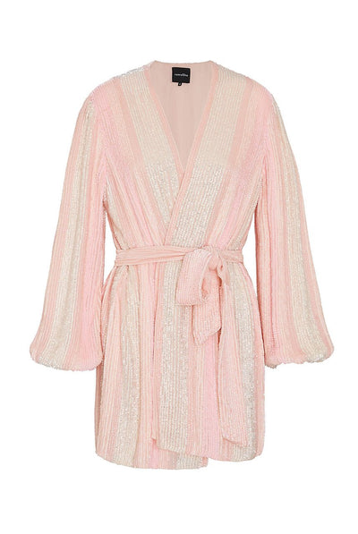 Gabrielle Robe Dress Pastel Pink Stripes by retrofete