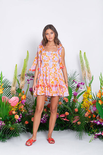 Sundress Pippa Short Dress Flowers / Flamingo Pompons