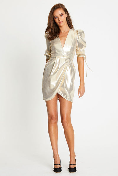 Oxygen Boutique Alice McCall Astral Plane Cap Sleeve Mini Dress Gold