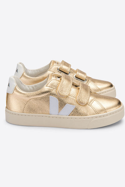 Veja Esplar Velcro Chromefree Leather Platine White