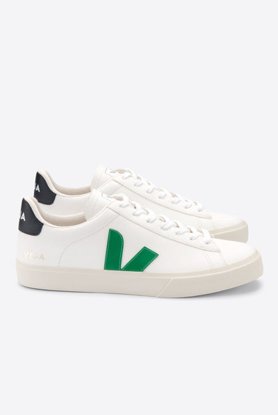 Veja Campo Chromefree Leather White Emeraude Black