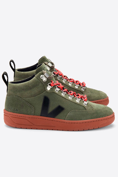 Veja Roraima Suede Olive Rust Trainers