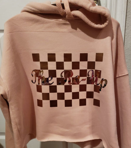 Checker Board Crop Top Hoodie