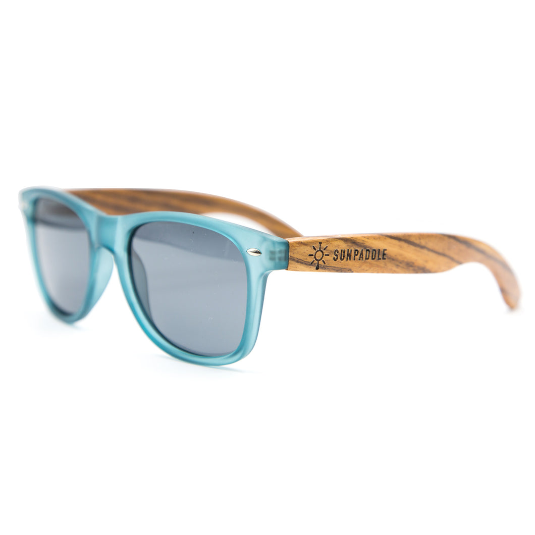 Blue Polarized Wooden Sunglasses