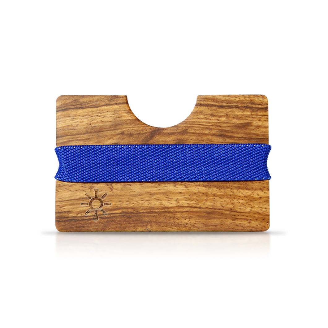 Wooden Wallet with Blue Band