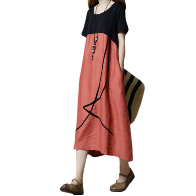 a8d0403ea3d60 Plus Women Summer Baggy Cotton Linen Casual Loose Long Maxi Dress Boho  Kaftan UK