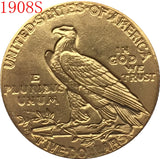 1908 $5 GOLD Indian Half Eagle Coin