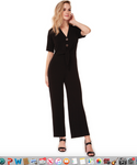 Dex 1422056 S/SLV Button Down Jumpsuit