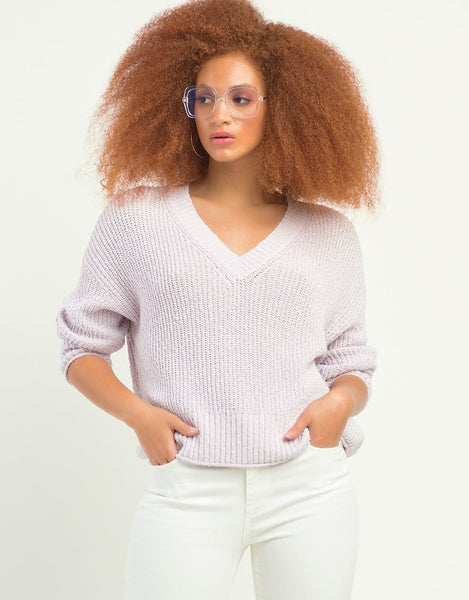1727000 DEX L/S V-Neck Textured Sweater