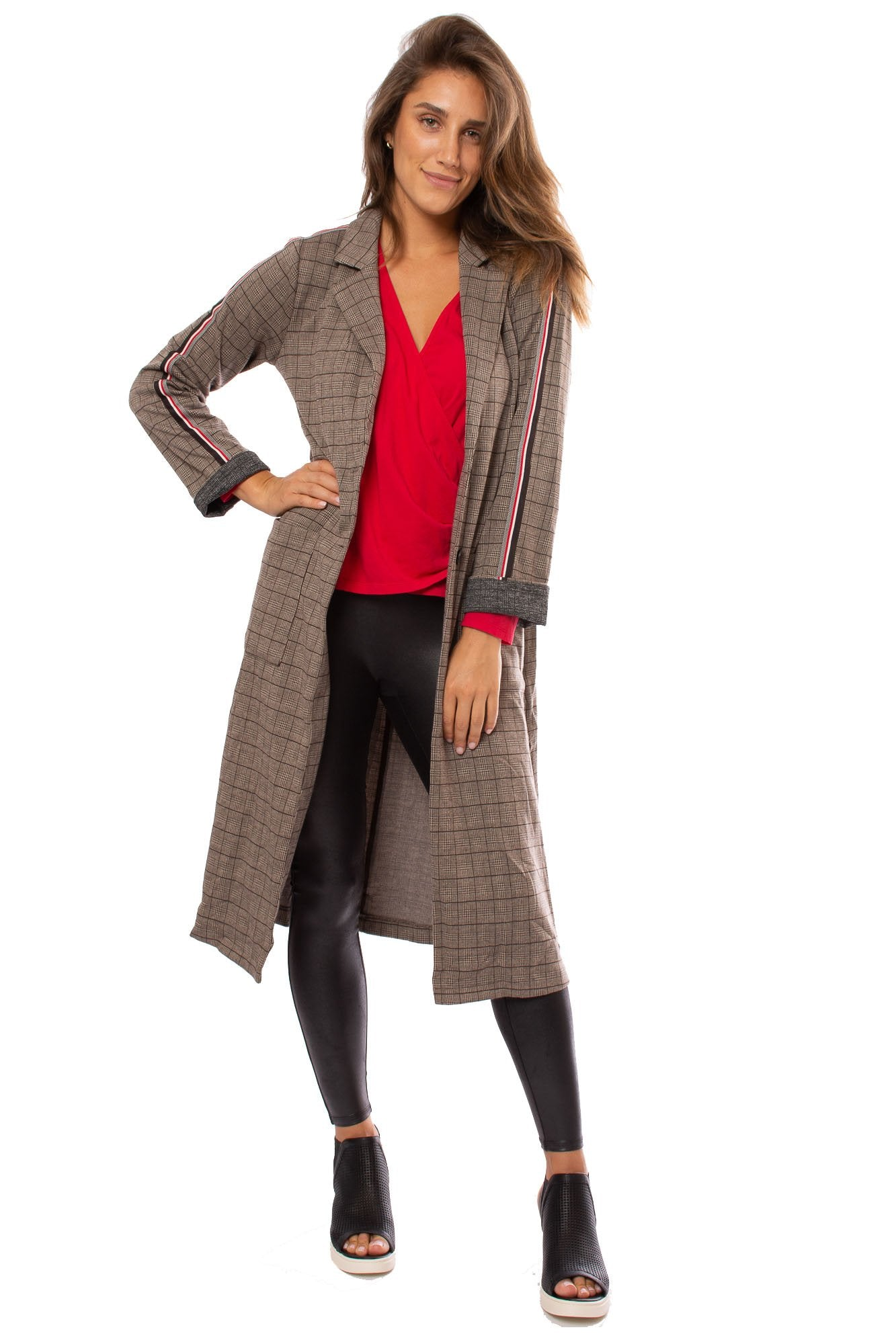 18453C MYSTREE Glen Checker Long Jacket