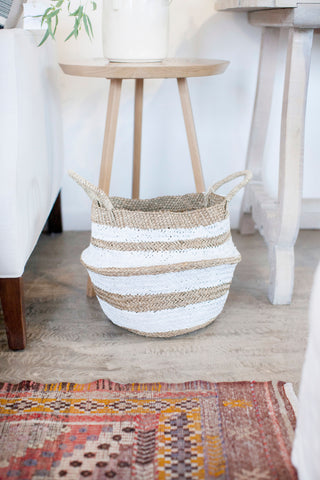 "Brunna ""Stripes Tribes"" Straw Belly Basket Bag- White"