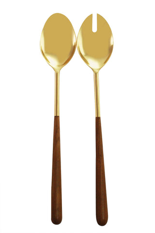 Gold and Wood Serving Set
