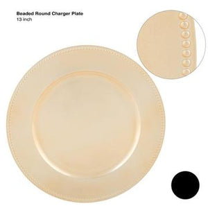 "13"" Gold Beaded Round Plastic Charger Plate 