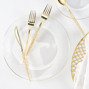 SOLID Round Clear • Gold Trim Plates | 10 Pack