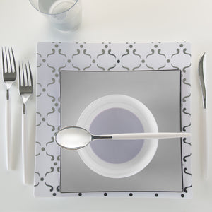 SOLID Square Grey • Silver Trim Plates | 10 Pack
