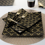 Square Black • Gold pattern Plates | 10 Pack
