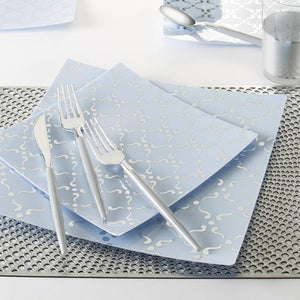 Square Ice Blue • Silver Pattern Plates | 10 Plates