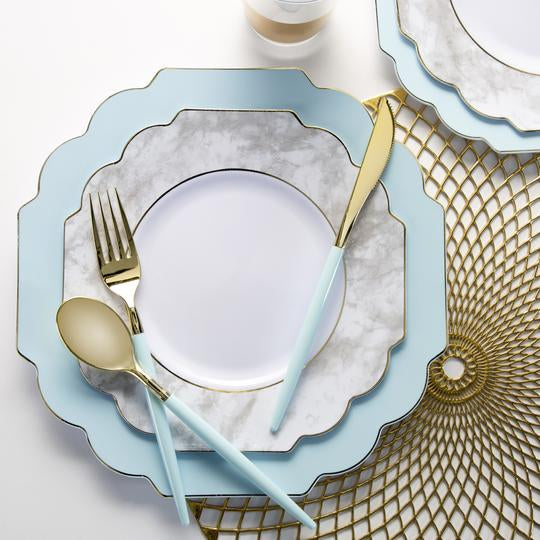 Scalloped Mint • Gold Plates | 10 Pack