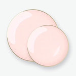 SOLID Round Blush • Gold Trim Plates | 10 Pack