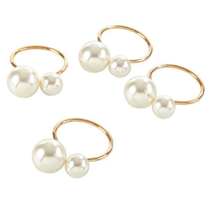 Pearl Ring - Set of 4 - Available in 6 colors