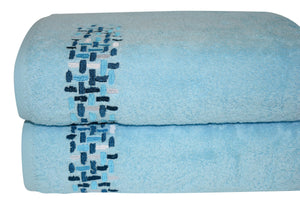 Ivone Embroidered Turkish Cotton Bath Towels - 24 Pieces