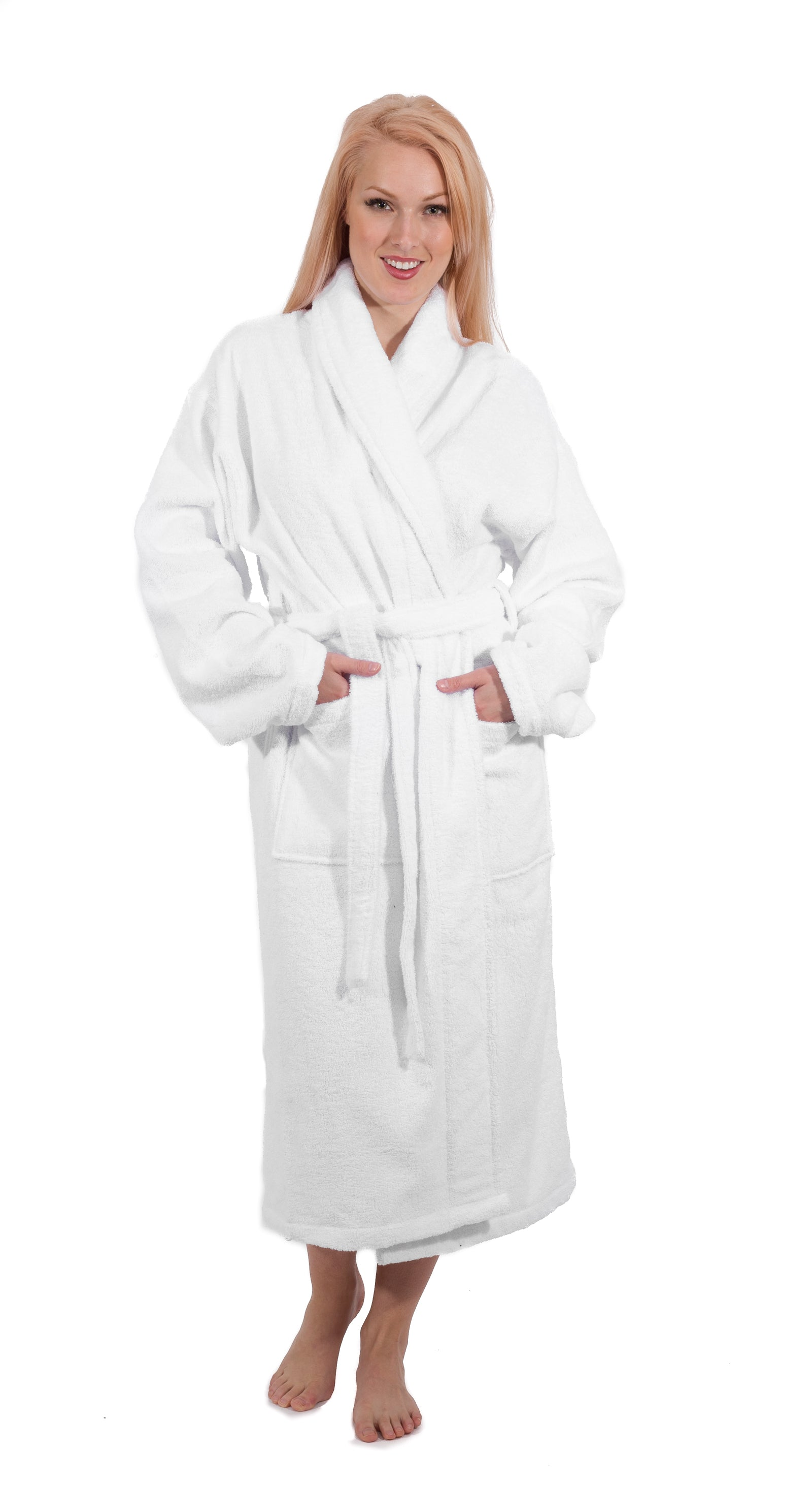 White Shawl Collar Terry Turkish Cotton Bathrobe - 6 Pieces