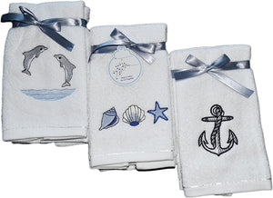 Embroidered Turkish Cotton Fingertip Towels - 6 Pieces (34 Sets)