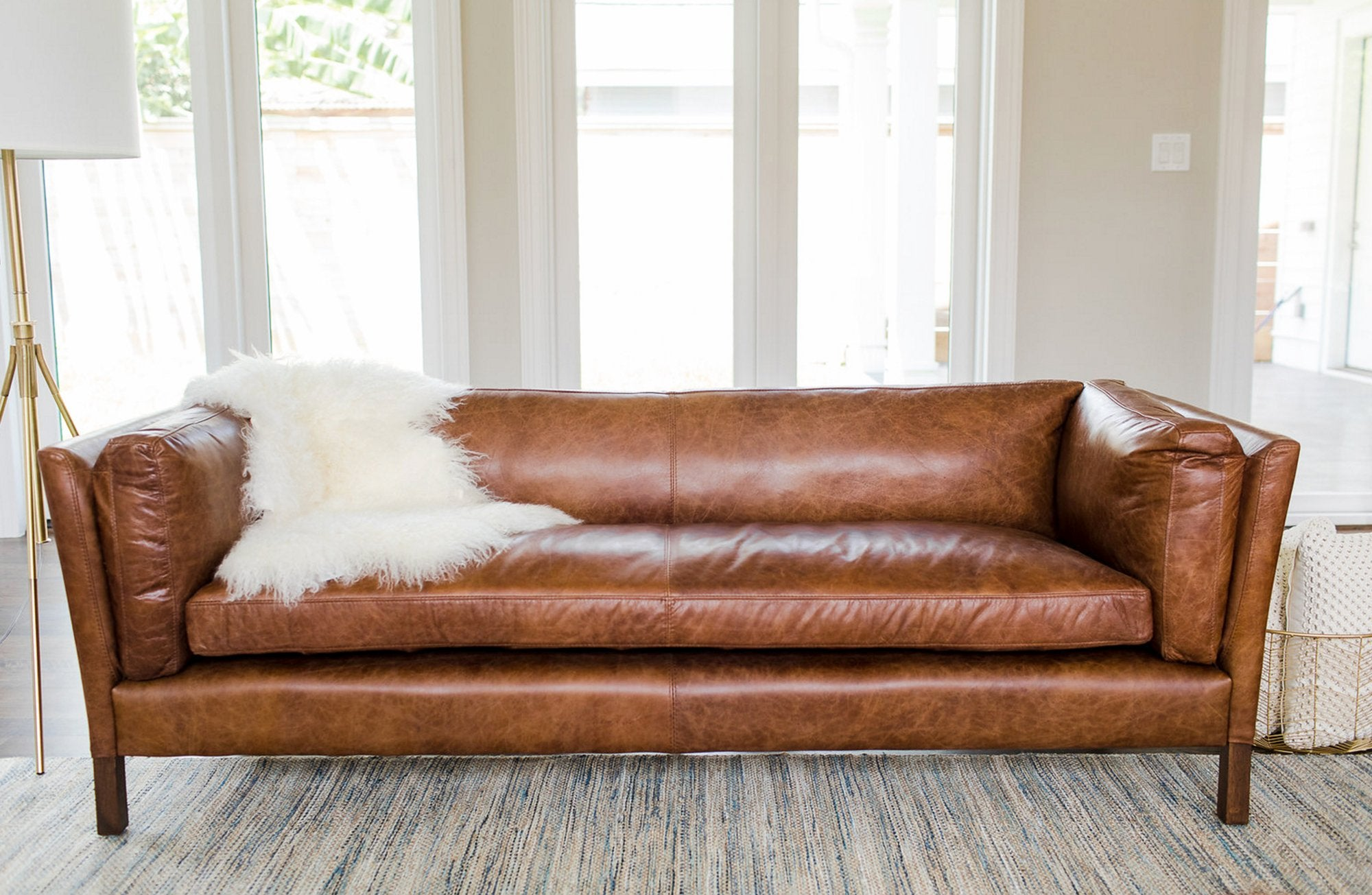 - Finley Mid-Century Modern Leather Sofa - MidCentury Leather Couch