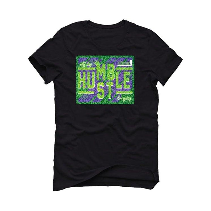 Air Jordan 3 Electric Green Violet Shock 2021 Black T-Shirt (always hustle)