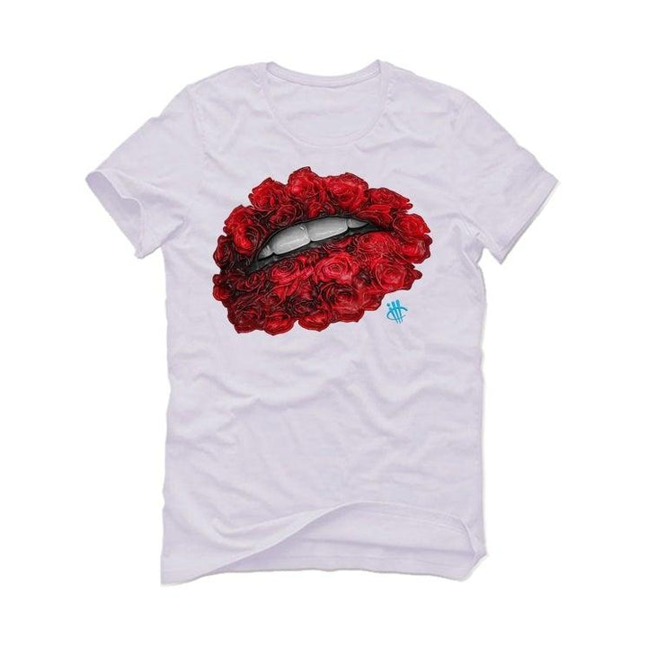 Air Jordan 1 UNC CHI 2019 White T-Shirt (LIPS AND ROSES)