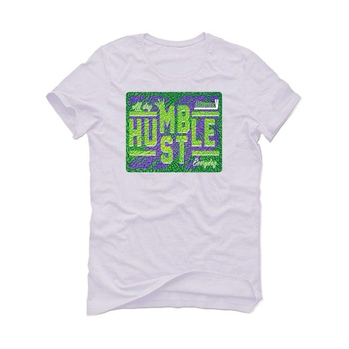 Air Jordan 3 Electric Green Violet Shock 2021 White T-Shirt (always hustle)