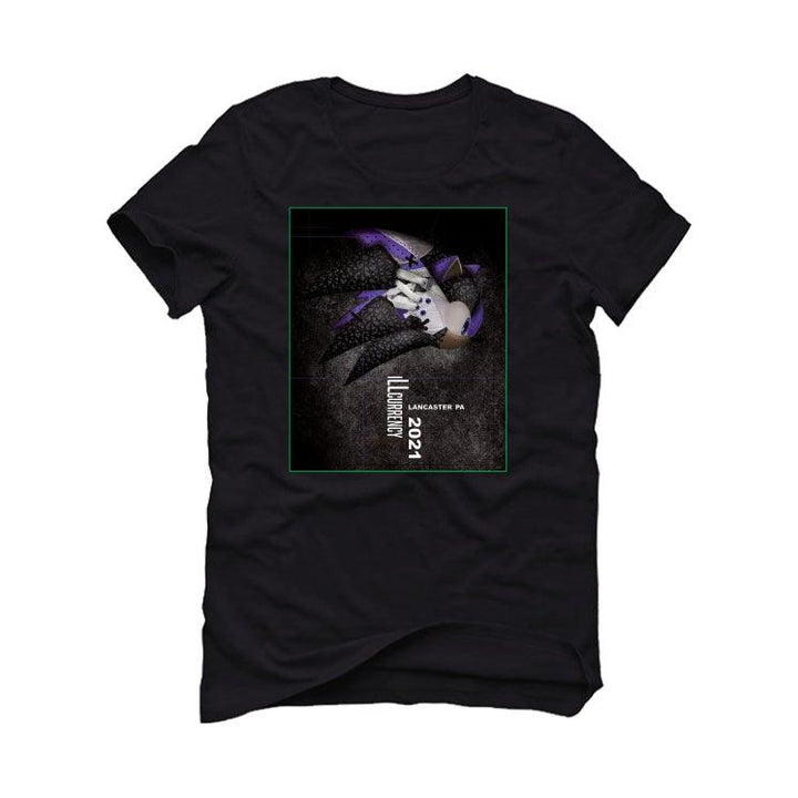 Air Jordan 3 Electric Green Violet Shock 2021 Black T-Shirt (Hedgehog Cement)
