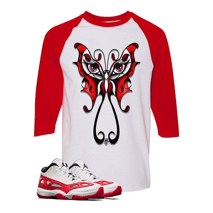 online store a3e26 ecdbe Air Jordan 11 Low IE White And Red Baseball T (BUTTERFLY)