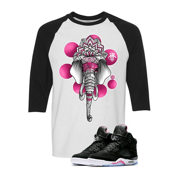 Air Jordan 5 GS Deadly Pink White and Black Baseball T (ELEPHANT)