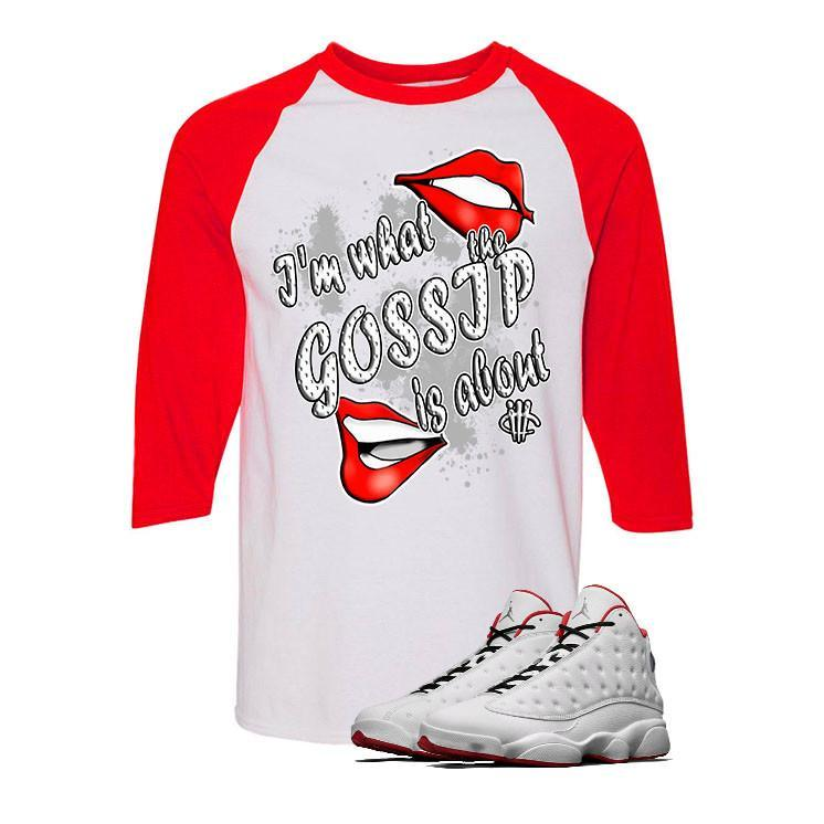 "Air Jordan 13 ""History of Flight"" White and Red Baseball T (GOSSIP)"