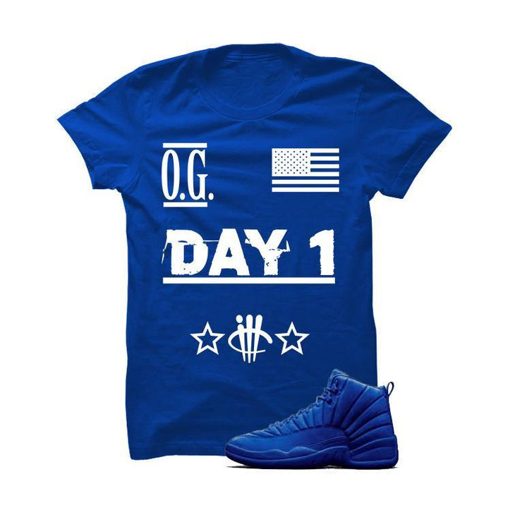 Jordan 12 Blue Suede Royal Blue T Shirt (O.G. Day 1)